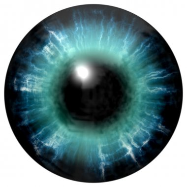 Illustration of blue eye iris, light reflection. View into open eyes.