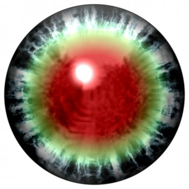 Isolated open  green eye with bloody retina. Animal eye with large pupil and bright red retina in background. Green iris around pupil.