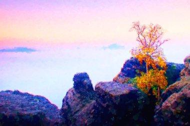 Watercolor paint. Paint effect.  Island with tree in misty ocean. Full moon night in  beautiful mountain. Peaks  in heavy creamy fog.