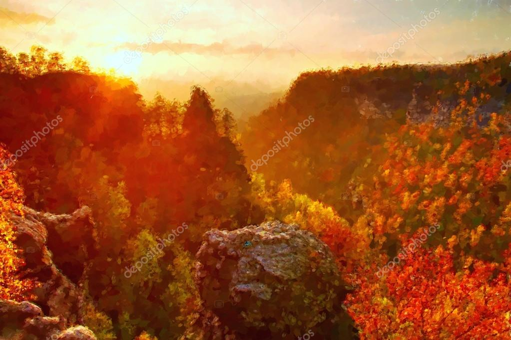 Watercolor paint. Paint effect. Autumn sunset view over colorful rocks to fall valley