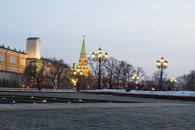 Manezh Square cityscape overlooking the walls of the Moscow Kremlin .