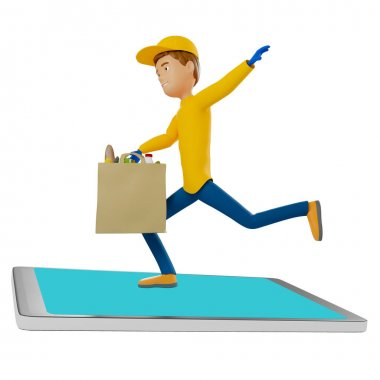 A delivery man in holds a bag with food, fruits, vegetables. Postman and express delivery of groceries. Surfing on phone. 3d illustration.