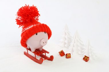 Piggy box with red hat with pompom standing on red sled on snow and around are snowbound trees and three gifts with gold bow