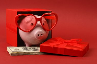Piggy bank in love with red heart sunglasses standing in gift box with ribbon and with stack of money american hundred dollar bills on red background