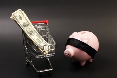 Shopping basket with stack of money american hundred dollar bills inside and pink piggy bank with black blindfold standing on black background - horizontal