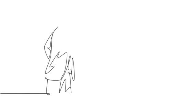 Animované vlastní kreslení kontinuální čáry kreslit mladý podnikatel potřást rukou kolegovi, aby se zabýval projektem. Koncept obchodní schůzky. Plná délka jednořádkové animace ilustrace.