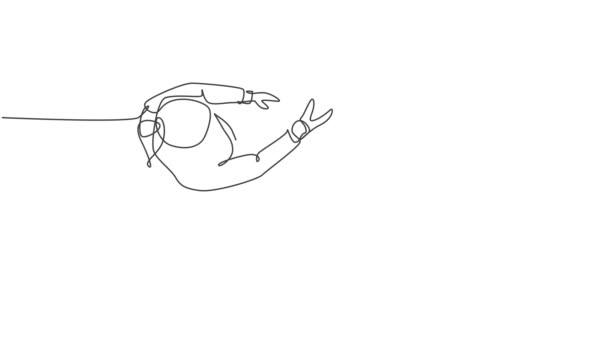 Animovaný self drawing of continuous line draw manager handshake his employee to gratulate their promotion. Obchodní týmová práce. Plná délka jednořádkové animace ilustrace.