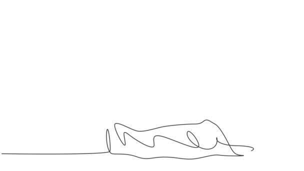 Animáció egy vonal rajz orvos látogató beteg, aki gyengén fekszik az ágyon, és így hüvelykujját fel gesztus. Orvosi ellátás koncepciója. Folyamatos vonalrajzolás animálva. Teljes hosszúságú mozgás.