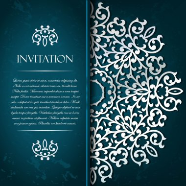 Elegant decorative aquamarine   invitation card with gold orname