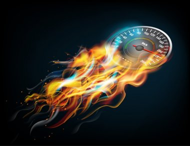Speedometer in bright fire