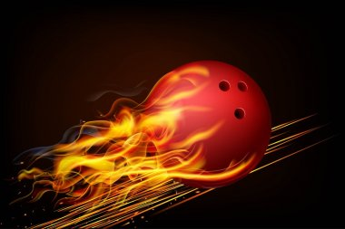 The red ball in flames