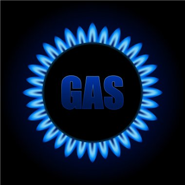 Gas flames on kitchen stove