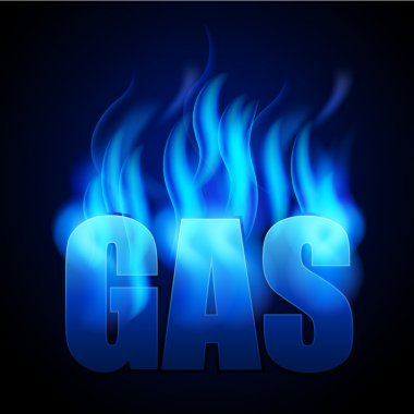 Blue natural gas and GAS word
