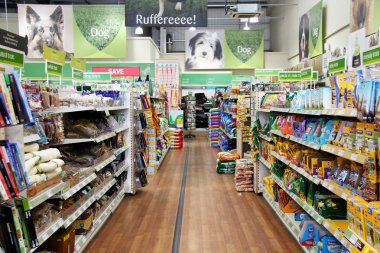 Pet Products in a pet supermarket.