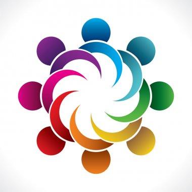 Creative colorful teamwork or business people meeting icon design vector stock vector