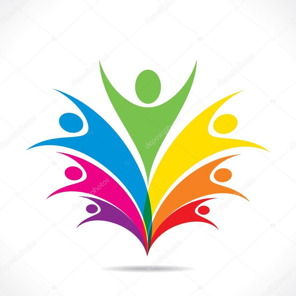 Colorful people celebrate icon design vector