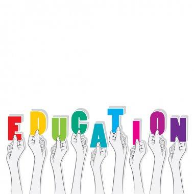"""Картина, постер, плакат, фотообои """"образование слова, держа в руках"""", артикул 81553054"""