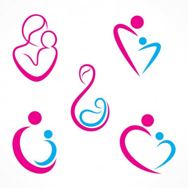 Creative mother baby icon