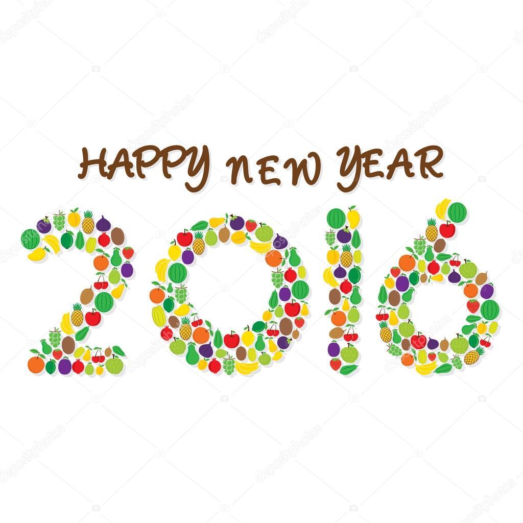 Obst frohes neues Jahr 2016 Gruß oder Grafik-design — Stockvektor ...