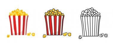 Popcorn bucket boxes isolated. Cartoon illustration of fast food in cinema. Flat vector. American traditional snack in doodle style. Large paper cup striped to the top filled with corn kernels icon