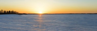 Panorama of a sunset in the Siberian taiga