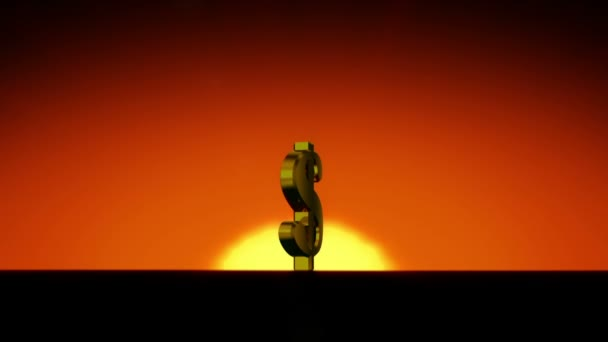 Dollar Symbol Growing in the Rising Sun. Sunrise Time-lapse. HD 1080. Beautiful 3d animation.