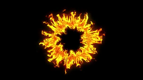Beautiful Ring of Fire Looped. HD 1080. Alpha channel.