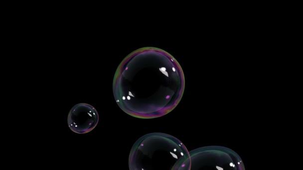 Krásné vzduchové bubliny na černém pozadí. HD 1080.