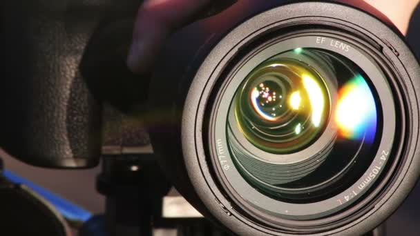 Zooming Lens. Close-up shot of professional camera. HD 1080.