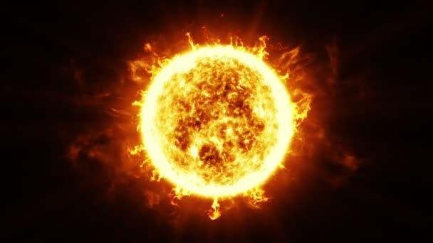 Schöne Sun-Oberfläche und Sonneneruptionen. HD 1080. Geschlungene animation