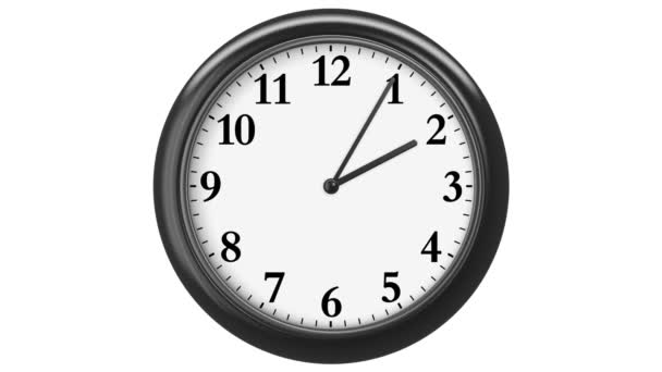 Clock with Arabic Numerals. 720 frames (frame for each minute). HD 1080. Loop. Isolated on White.