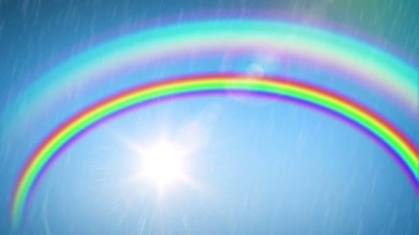 Krásná duha se sluncem a deštěm. Časová prodleva. HD 1080.