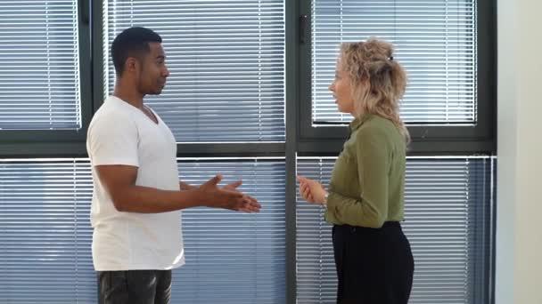 Boční pohled na mladé kavkazské obchodní žena vede rozhovor s afroamerickým kolegou v blízkosti okna.