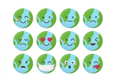 Earth planet emoji pack icons for apps. Bundle of bright flat planet emoji. icon