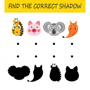 Find the correct shadow. Educational card  for children. Cute animals. Logic game for kids. Home education. Colorful cartoon vector illustration. icon
