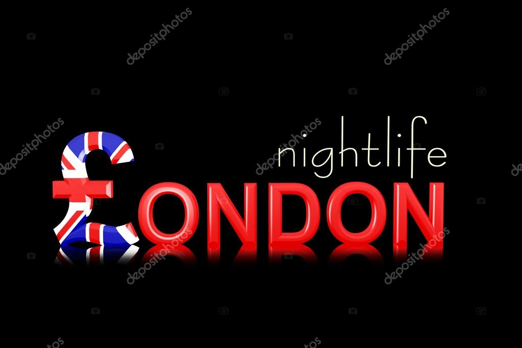 Text London Nightlife With Currency Symbol Stock Photo