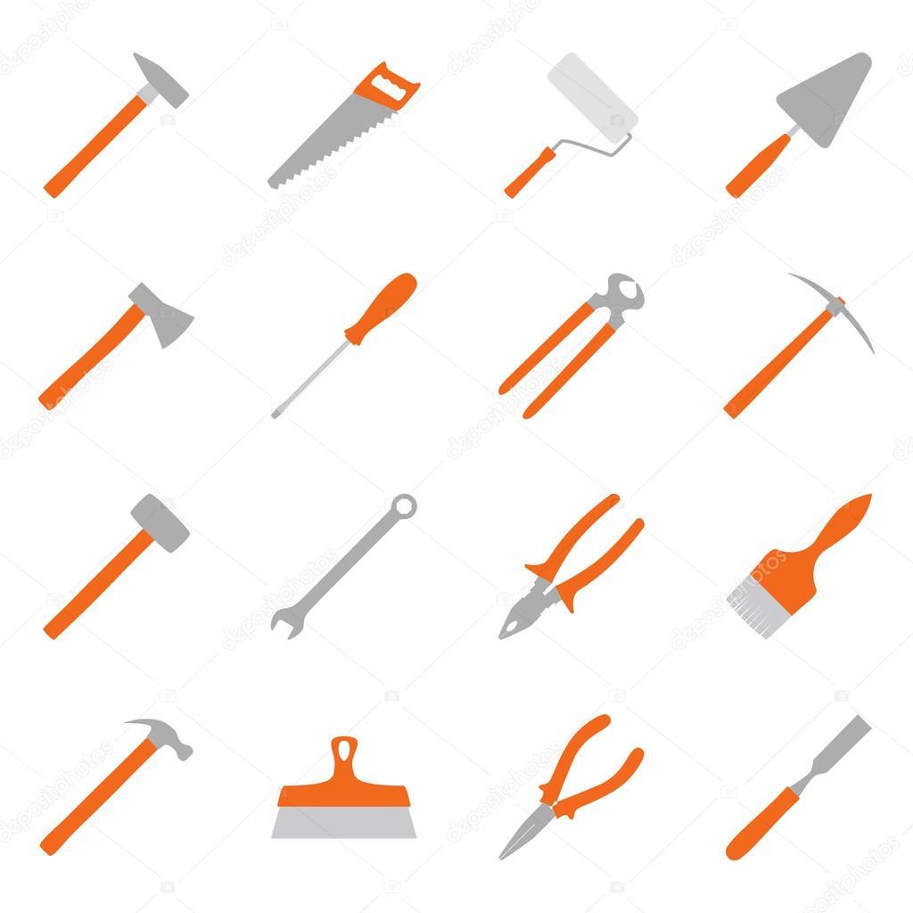 Conjunto de herramientas de construcción de color, ilustración ...