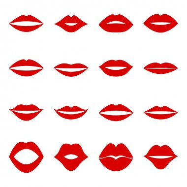 Set of red lips, vector illustration stock vector