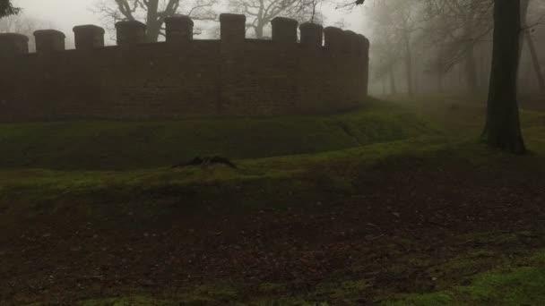 Vecchie mura storico antico castello e la foresta in giorno nebbioso nebbioso