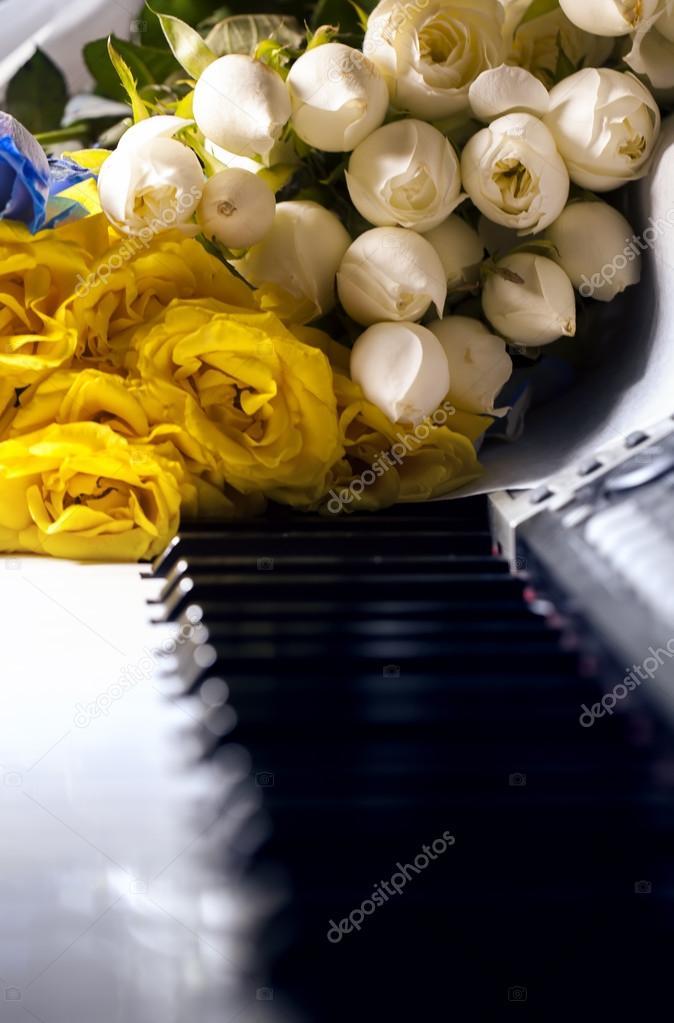 Flowers on Piano Keys