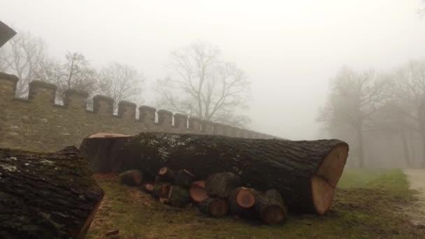 Řím hrad a řezané Woods v mlhavé den Misty