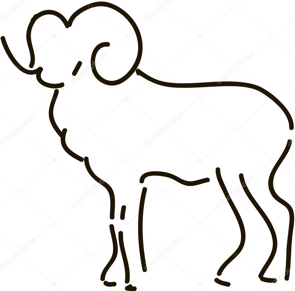羊シンボル 2015年のイラスト シルエット ストックベクター Alna3
