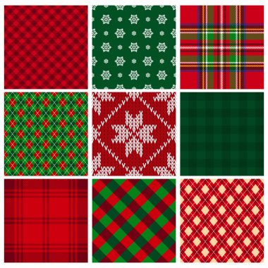 Collection of vector seamless christmas backgrounds