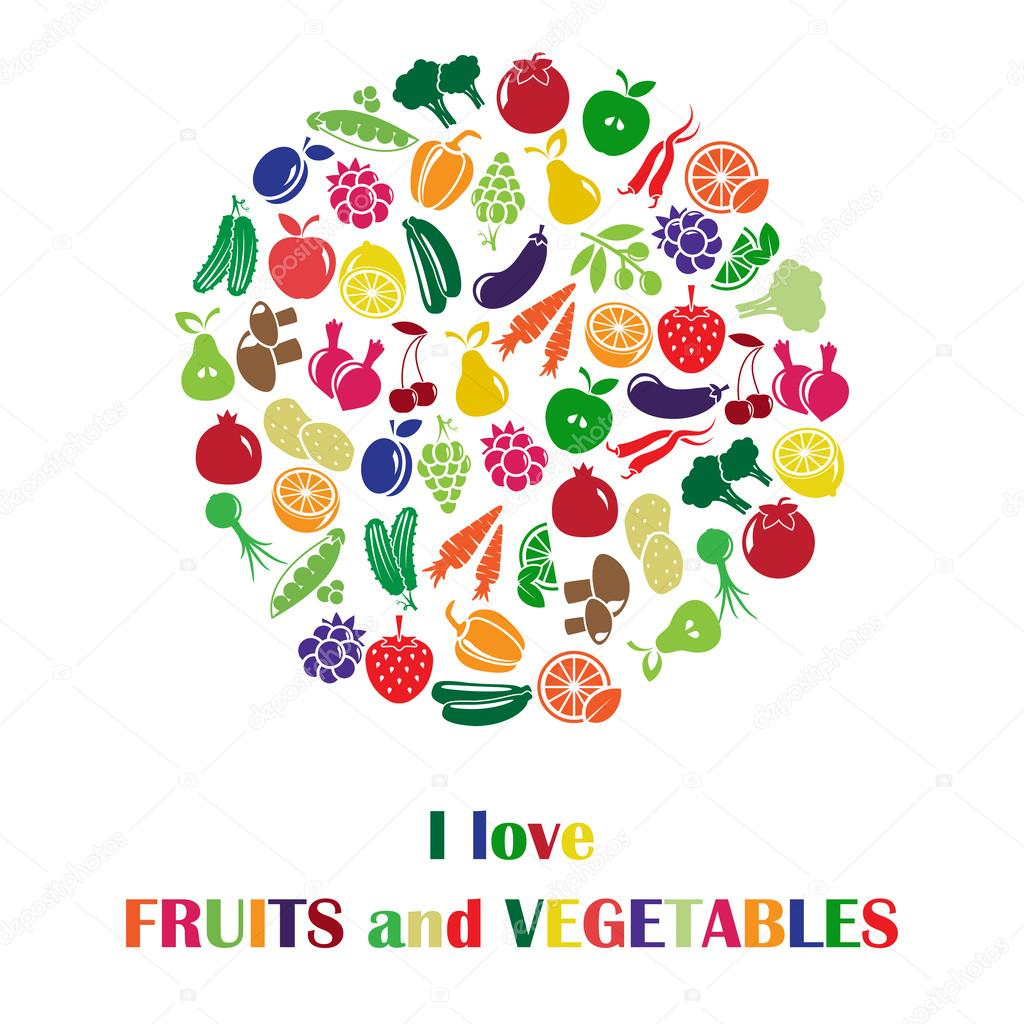Vector illustration with fruits and vegetables