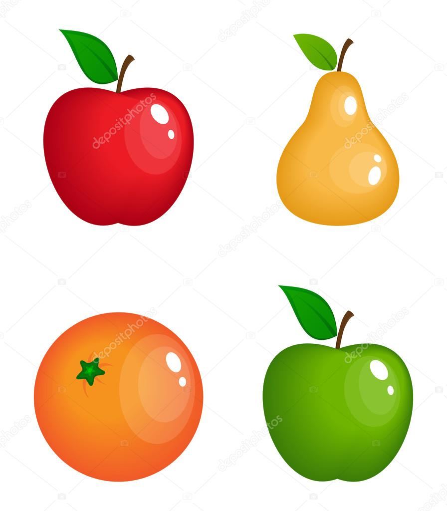 Satz von Vektor realistische glänzende Früchte — Stockvektor ...