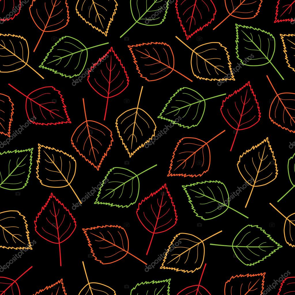 vector seamless background with autumn colored leaves