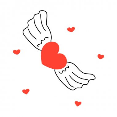 Heart with wings in flight. Happy Valentines Day. February 14th. On white background isolated vector doodle hand drawn icon