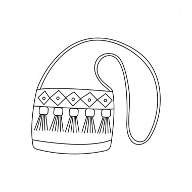 Womens stylish fabric ladies handbag with a long handle. Black and white vector illustration isolated in doodle style icon