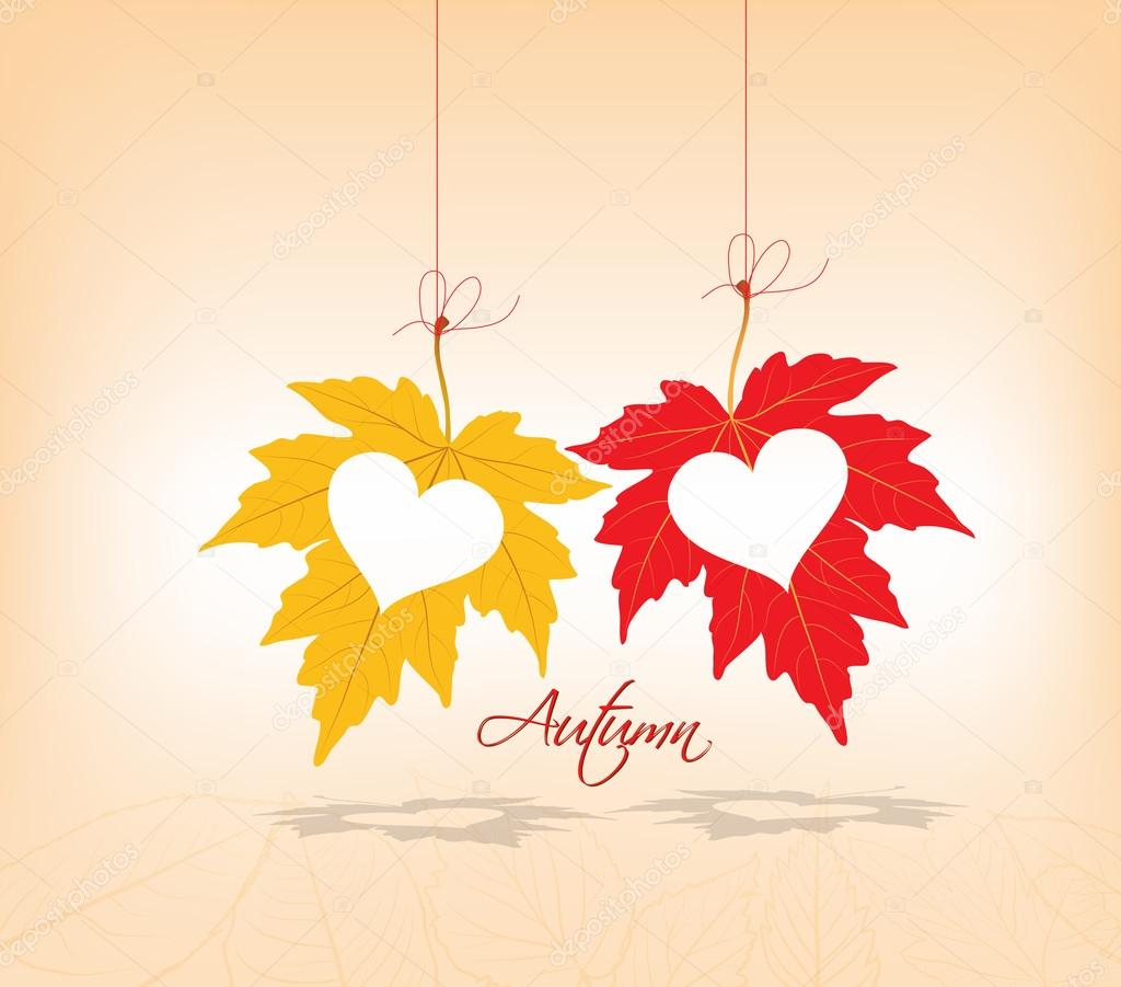 Autumn leaves background couple hearts