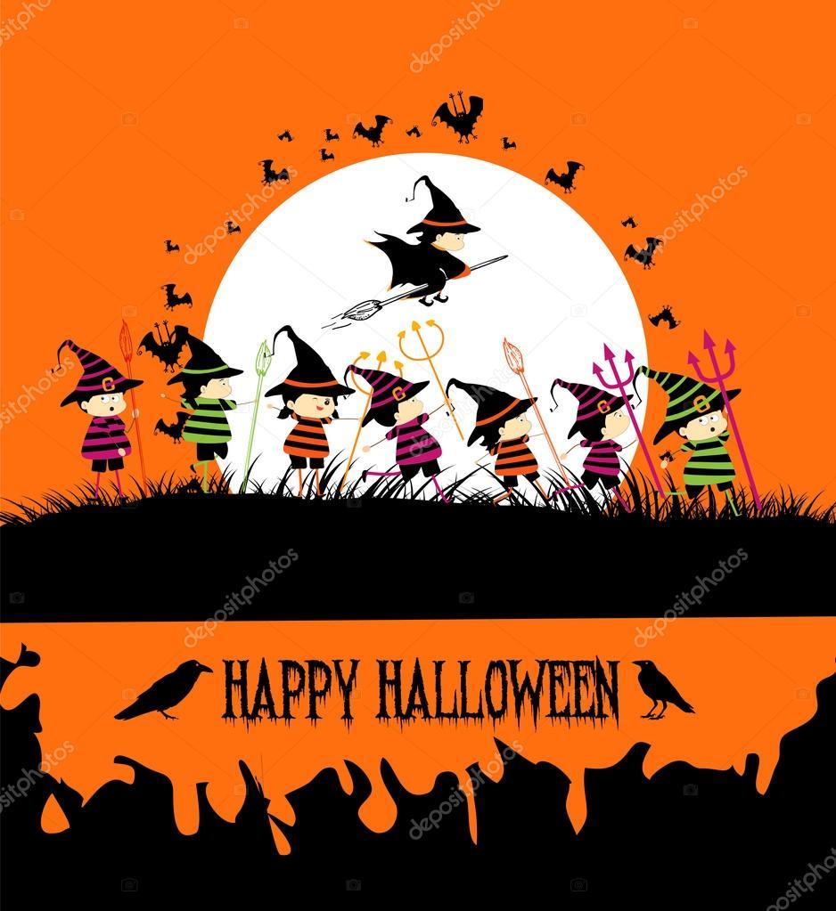 Happy Halloween party with kids — Stock Vector